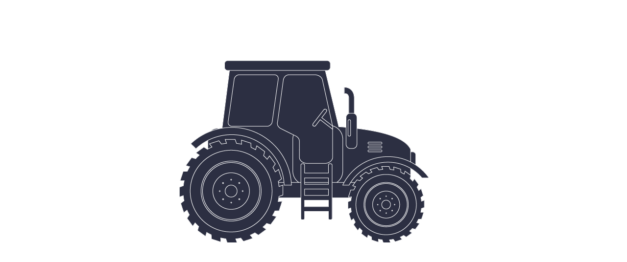 Agricultural vehicle tractor in purple